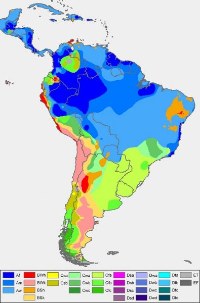 Mapa clima tropical de altitude